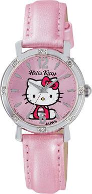 ハローキティ HELLO KITTY 腕時計 ガールズ レディース ウォッチ シチズン Q&Q アナログ 革ベルト 日本製 ピンク CITIZEN 0003N001