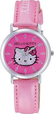 ハローキティ HELLO KITTY 腕時計 ガールズ レディース ウォッチ シチズン Q&Q アナログ 革ベルト 日本製 ラメ ピンク CITIZEN 0009N002