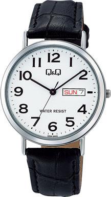 腕時計 メンズ シチズン Q&Q スタンダード アナログ 革ベルト 日付 曜日 表示 ホワイト メンズウォッチ CITIZEN A202-304