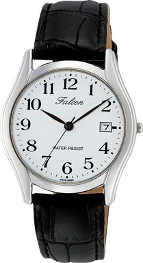 腕時計 メンズ シチズン Q&Q フォルコン アナログ 革ベルト 日付 表示 ホワイト メンズウォッチ CITIZEN D016-304