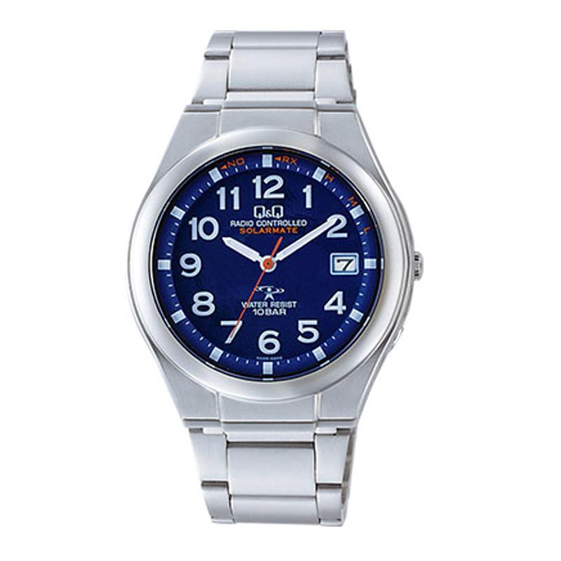 腕時計 メンズ シチズン Q&Q 電波時計 ソーラー ソーラーメイト 10気圧防水 防水時計 シルバー×ブルー メンズウォッチ CITIZEN HG12-215