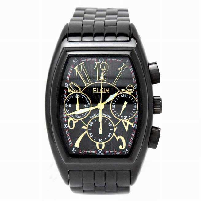 エルジン 腕時計 メンズウォッチ クロノグラフ 日本製ムーブメント トノー型 ブラックxブラック FK1215B-B
