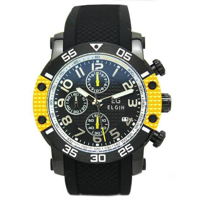 エルジン 腕時計 EGシリーズ エルジン創立150周年記念モデル クロノグラフ シリコンラバーベルト イエロー EG-001-Y