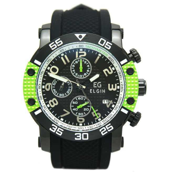 エルジン 腕時計 EGシリーズ エルジン創立150周年記念モデル クロノグラフ シリコンラバーベルト グリーン EG-001-GR