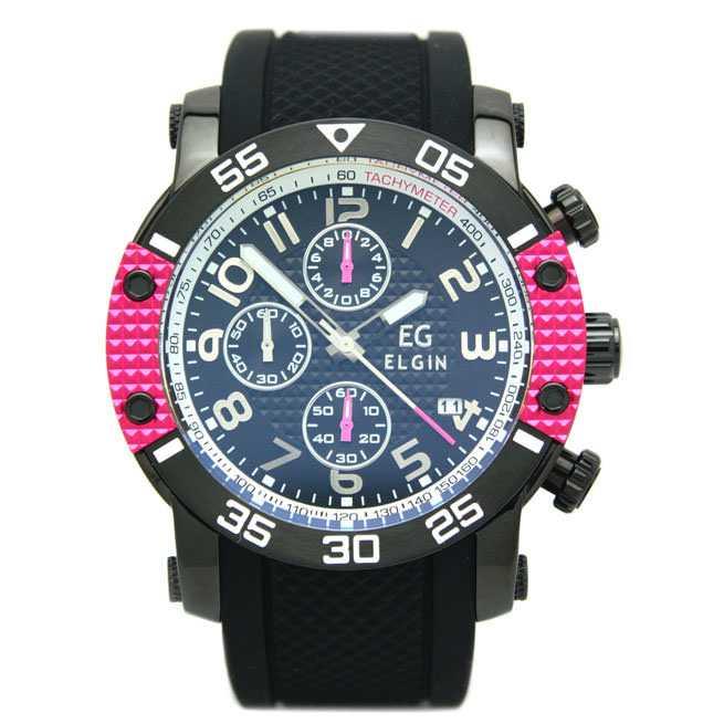 エルジン 腕時計 EGシリーズ エルジン創立150周年記念モデル クロノグラフ シリコンラバーベルト ピンク EG-001-P