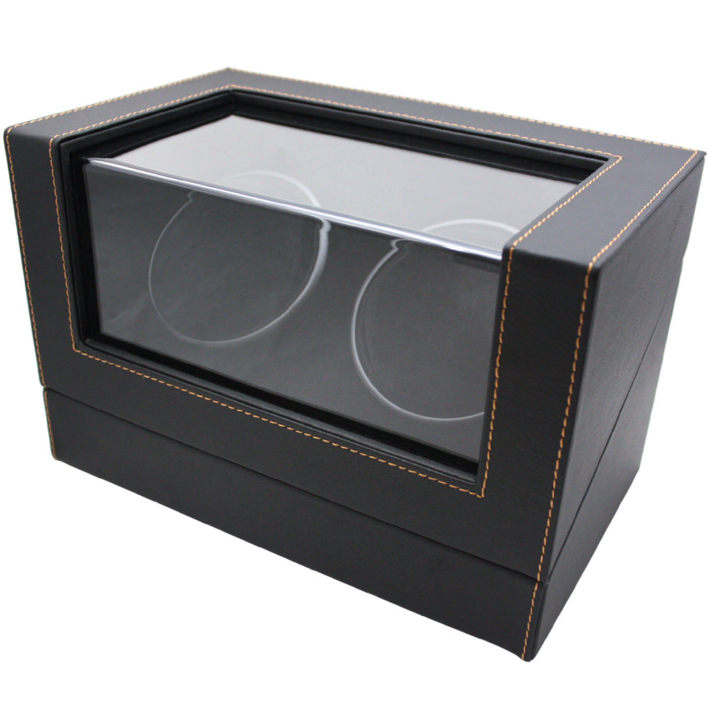 ワインディングマシーン 腕時計用ケース 腕時計 2本用 合皮 ワインダー 合皮黒 IGIMI イギミ ブラック IG-ZERO 107-1