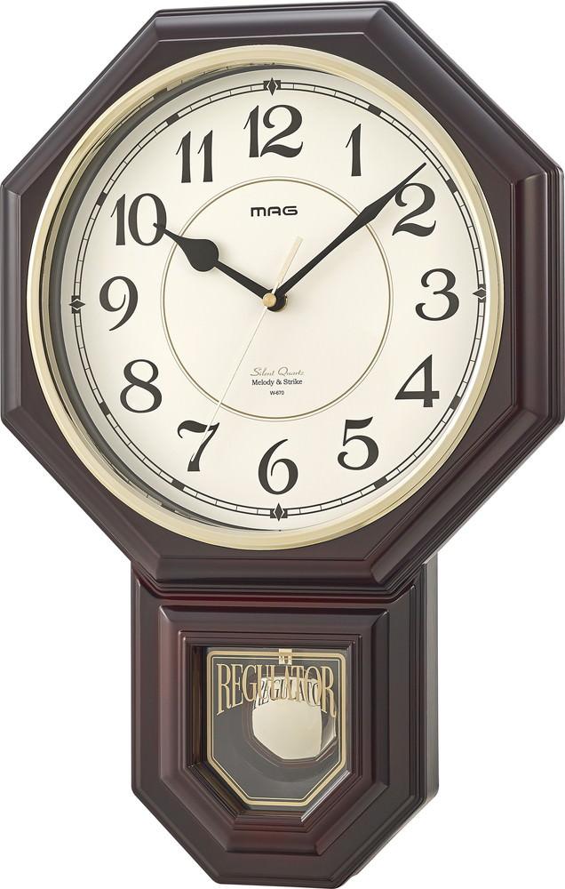 ノスタルジックな雰囲気漂うインテリアクロック 振り子時計 掛け時計 マーケティング 壁掛け時計 最安値挑戦 掛時計 ボンボン時打ち 16曲メロディ BR マグ ブラウン MAG ノア精密 W-670 西洋館