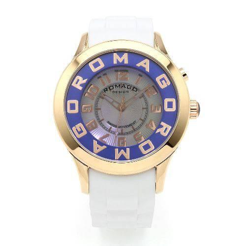 腕時計 メンズ アトラクションシリーズ メンズウォッチ ピンクゴールド×ブルー ROMAGO DESIGN ロマゴデザイン RM015-0162PL-RGBU