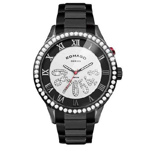 腕時計 メンズ ラグジュアリーシリーズ メンズウォッチ ブラックxブラック ROMAGO DESIGN ロマゴデザイン RM019-0214SS-BKBK