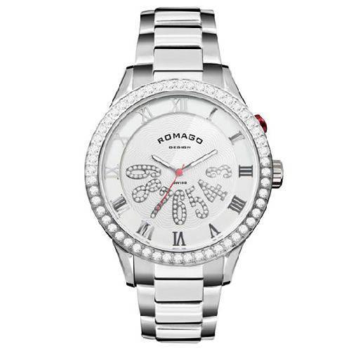 腕時計 メンズ ラグジュアリーシリーズ メンズウォッチ シルバーxホワイト ROMAGO DESIGN ロマゴデザイン RM019-0214SS-SVWH