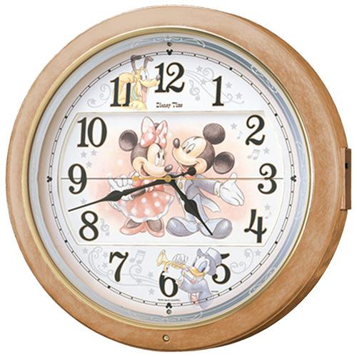 掛け時計 壁掛け時計 からくり時計 電波時計 セイコー SEIKO クロック ディズニータイム ミッキー ミニー ライトブラウン FW561A