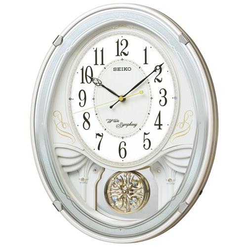 掛け時計 壁掛け時計 振り子時計 電波時計 セイコー SEIKO クロック アミューズ 飾り振り子 白パール AM258W
