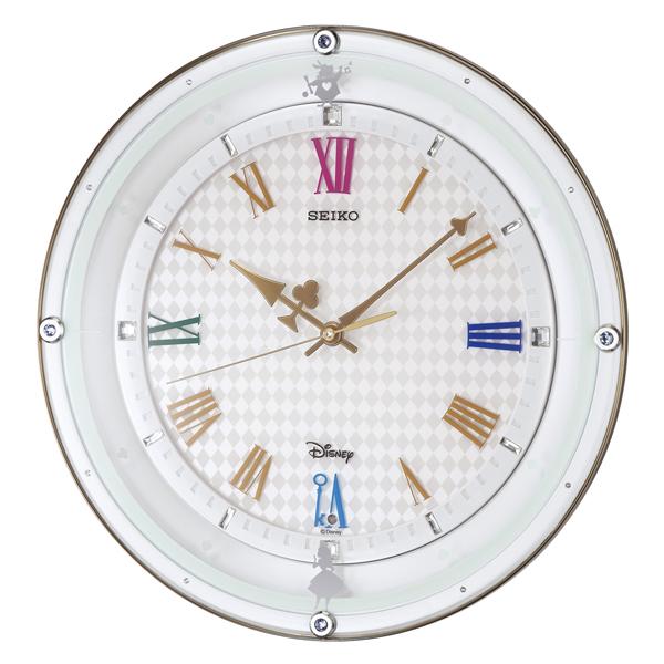 掛け時計 壁掛け時計 電波時計 セイコー SEIKO クロック Disney ディズニー ふしぎの国のアリス スワロフスキー クロック FS509W