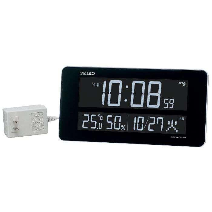 掛け時計 置き時計 掛け置き兼用 温度湿度計 日付表示 電波時計 セイコー SEIKO クロック 交流式 カラー 液晶 デジタル 白 DL208W