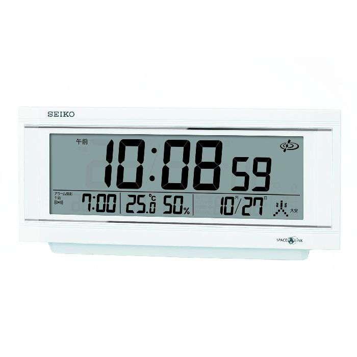 置き時計 置時計 衛星電波時計 温度湿度計 日付表示 電波時計 セイコー SEIKO クロック SPACE LINK スペースリンク デジタル 白パール GP501W