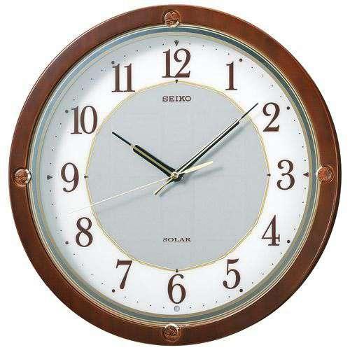 掛け時計 壁掛け時計 電波時計 セイコー SEIKO クロック ソーラープラス 木枠 茶 SF232B