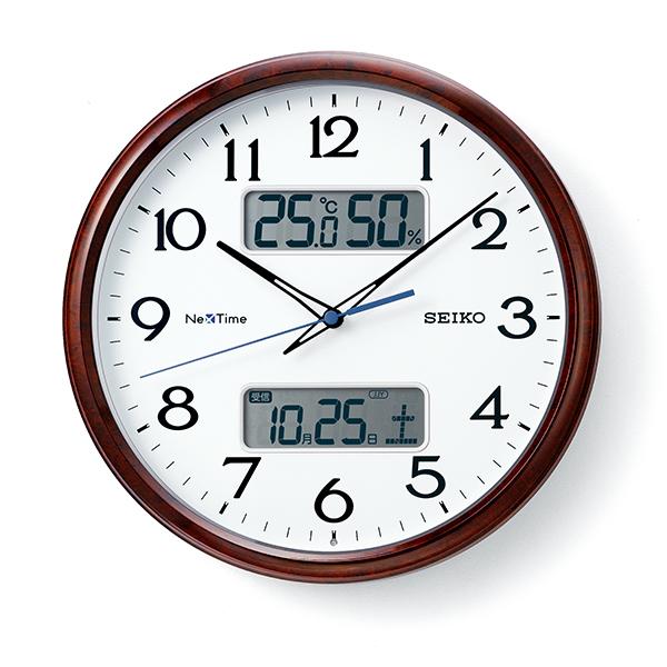 掛け時計 壁掛け時計 温度湿度計 日付表示 電波時計 SEIKO セイコー クロック ZS252B アナログ