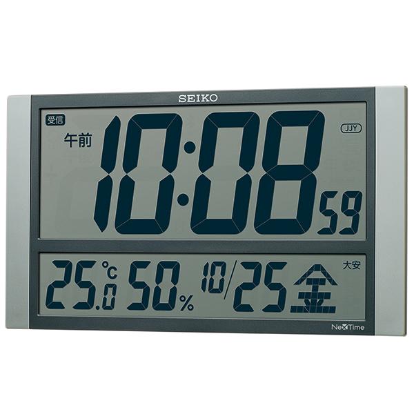 掛け時計 壁掛け時計 温度湿度計 日付表示 電波時計 SEIKO セイコー クロック ZS450S デジタル