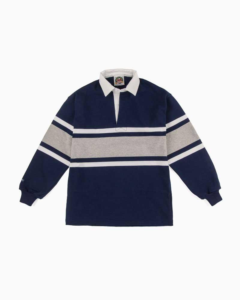バーバリアン【BARBARIAN】STK090(ネイビー/ホワイト/アッシュ)長袖 レギュラーカラー ラガーシャツ カナダサイズ