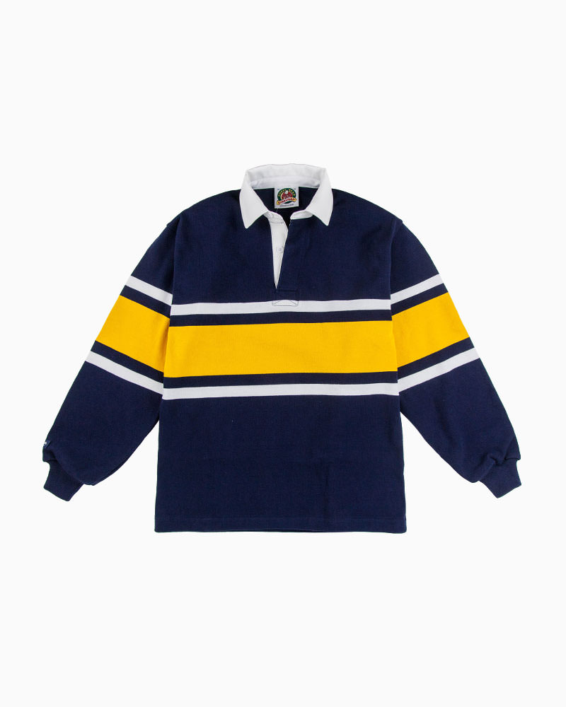 バーバリアン【BARBARIAN】STK009(ネイビー/ホワイト/ゴールド)長袖 レギュラーカラー ラガーシャツ カナダサイズ