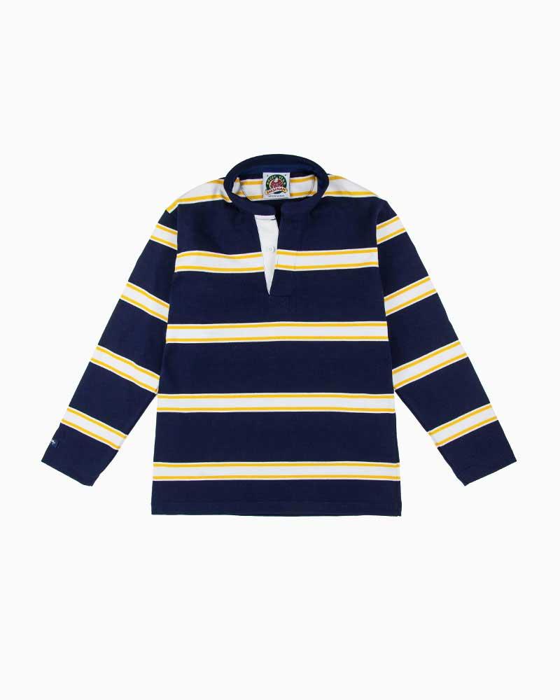 バーバリアン【BARBARIAN】12oz HENLEY LONG / PFF46(ネイビー/ゴールド/ホワイト)メンズ 長袖 ヘンリーカラー スタンドカラー ラガーシャツ