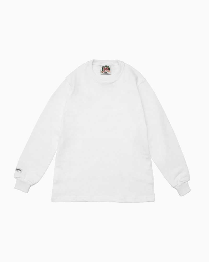 バーバリアン【BARBARIAN】12oz CREW LONG / BCLA01(ホワイト)メンズ 長袖 ラガーシャツ クルーネック ソリッド 無地