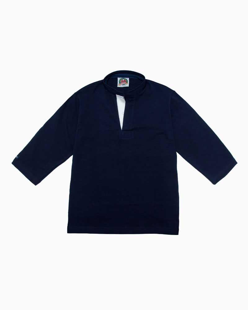 バーバリアン【BARBARIAN】8oz HENLEY 3/4 / QFF04(ネイビー)メンズ 七分袖 ヘンリーカラー スタンドカラー ラガーシャツ ライトウエイト