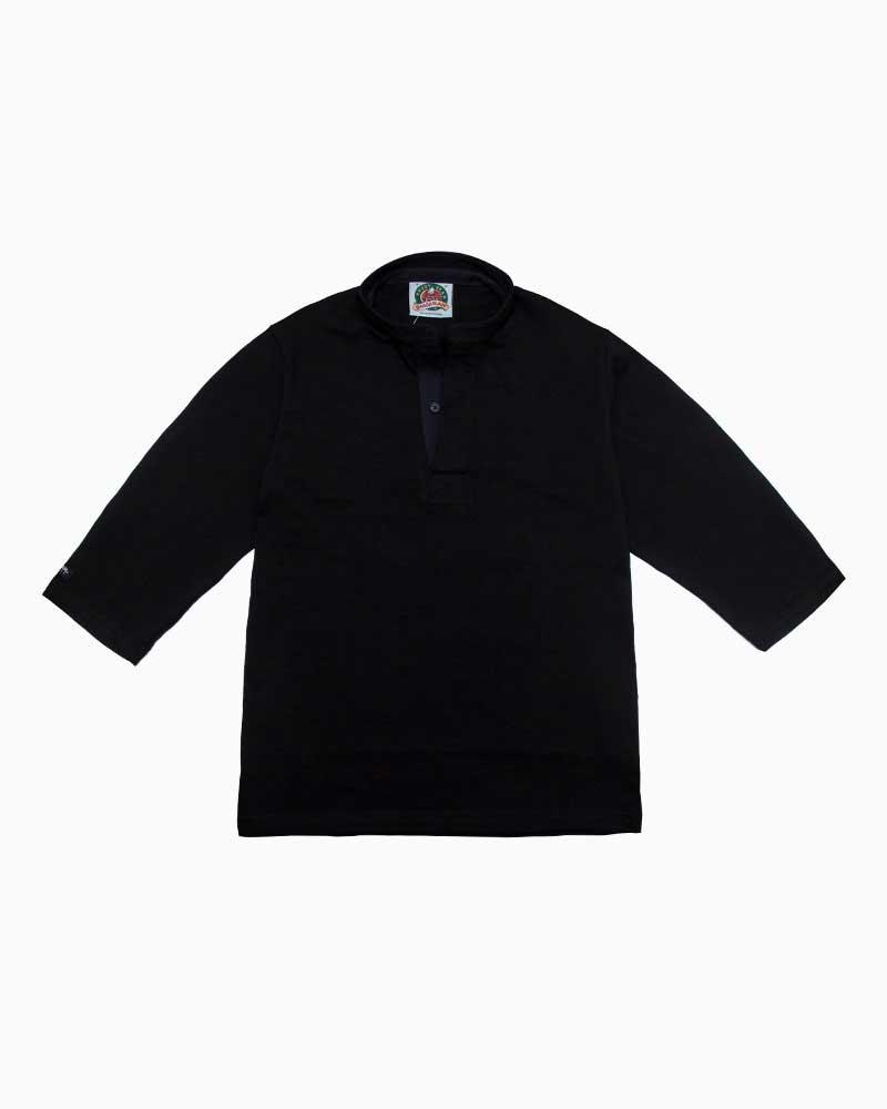 バーバリアン【BARBARIAN】8oz HENLEY 3/4 / QFF05(ブラック)メンズ 七分袖 ヘンリーカラー スタンドカラー ラガーシャツ ライトウエイト