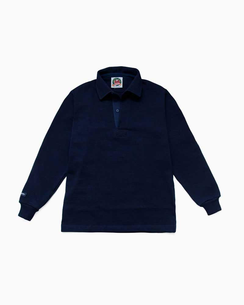 バーバリアン【BARBARIAN】12oz REGULER LONG / QFF18(ネイビー)メンズ 長袖 レギュラーカラー ラガーシャツ 無地※このモデルはニット地の襟が使用されております。