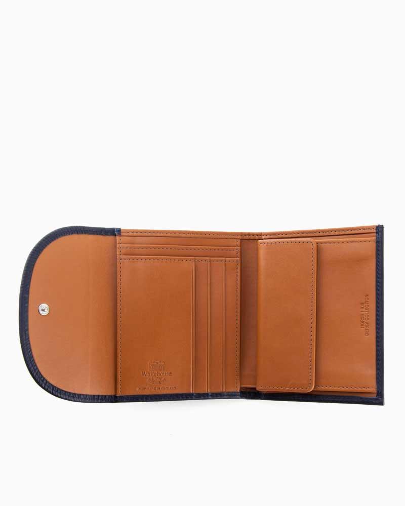 ホワイトハウスコックス【Whitehouse Cox】型番:S1058(ネイビー/タン) 財布 三つ折り財布 ツートン ダービーコレクション 馬革 ホースハイド 男女兼用(ネイビー)(タン)