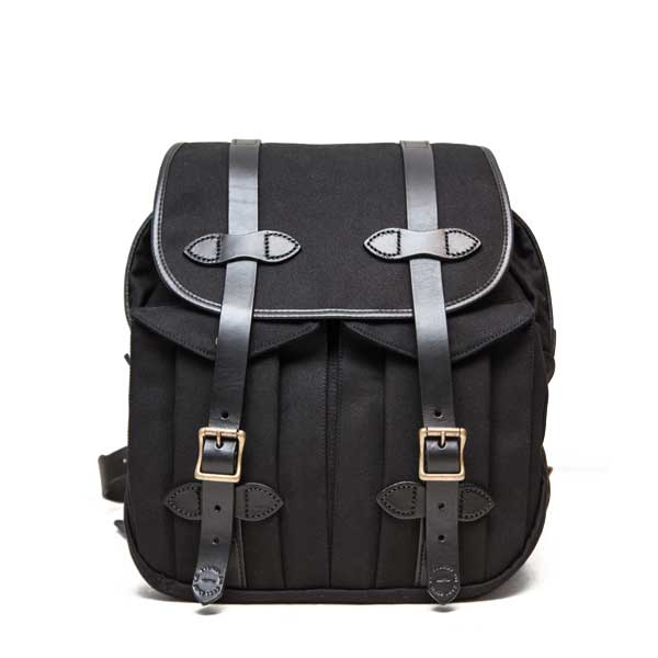 フィルソン【FILSON】RUCKSACK (ブラック) リュックサック 鞄 ラギットツイルコットン ブライドルレザー 牛革 男女兼用(ブラック)