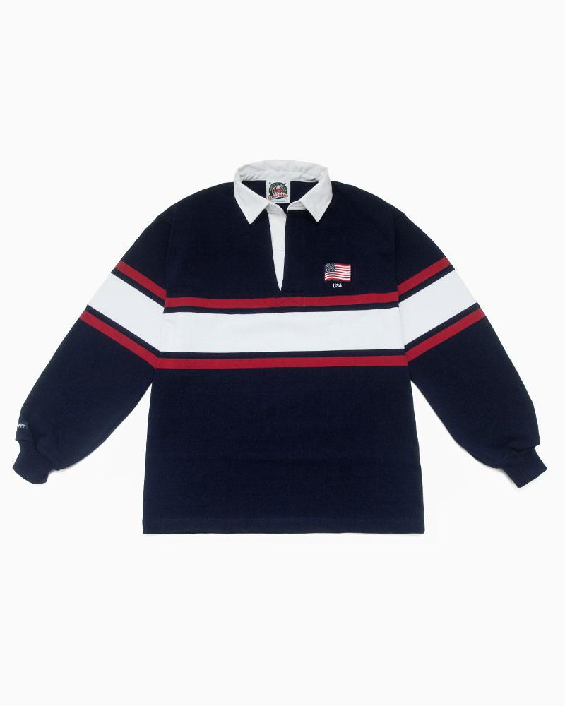 バーバリアン【BARBARIAN】 WORLD RUGBY WOR036(USA)長袖 レギュラーカラー ラガーシャツ カナダサイズ