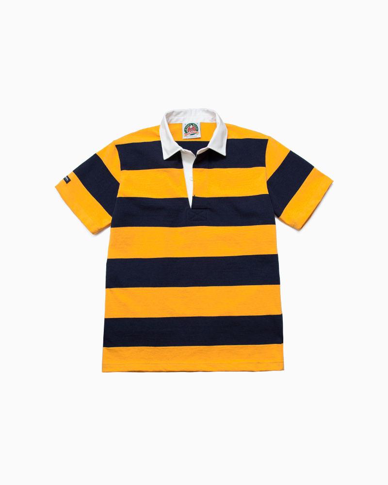 バーバリアン【BARBARIAN】8oz REGULER SHORT / CSSC03(ネイビー/ゴールド)メンズ 半袖 ラガーシャツ ライトウエイト レギュラーカラー ボーダー
