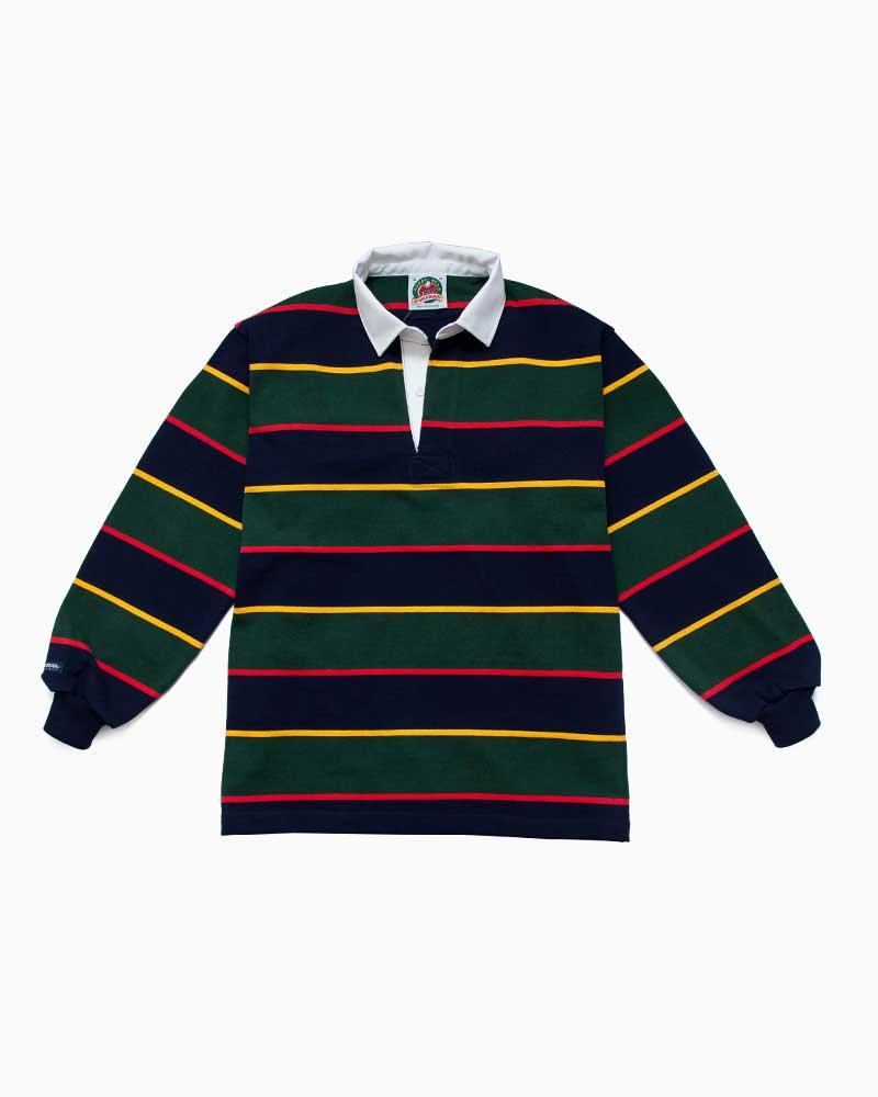 バーバリアン【BARBARIAN】 QFF15(ネイビー/ゴールド/ボトル/レッド)長袖 レギュラーカラー ラガーシャツ カナダサイズ