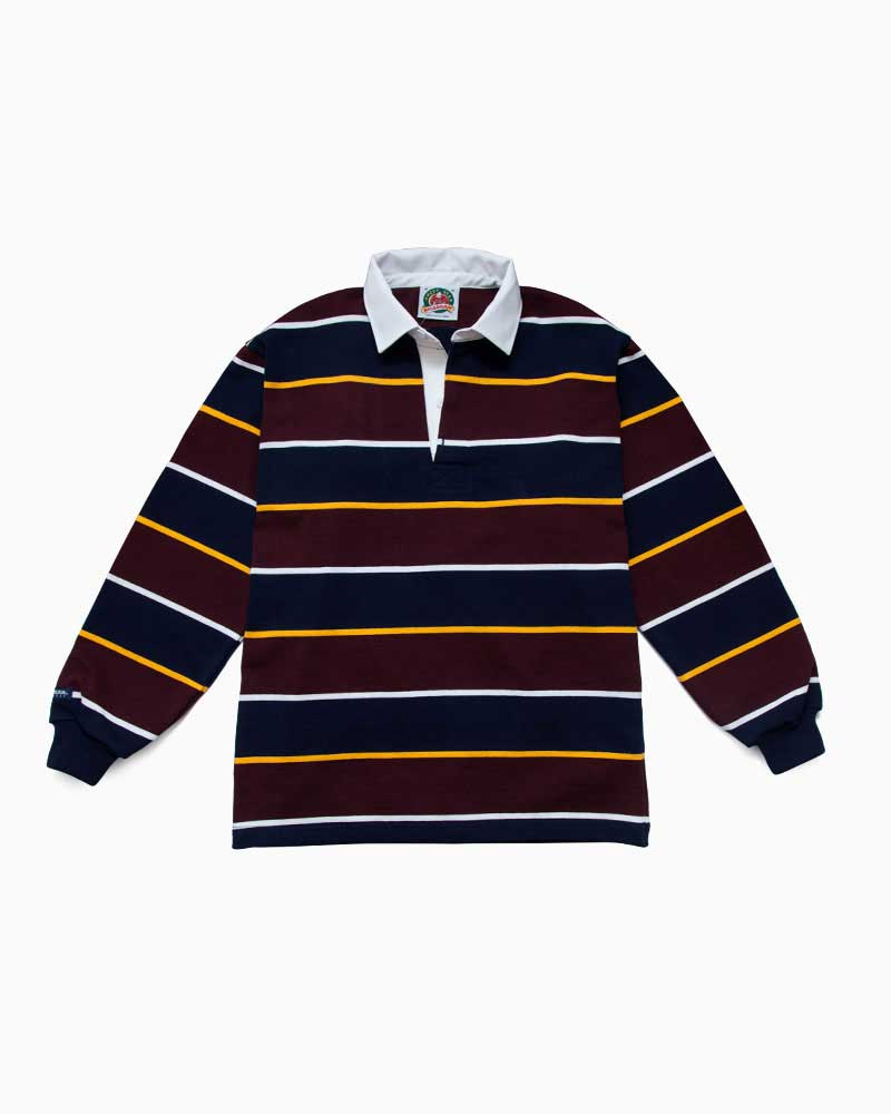 バーバリアン【BARBARIAN】 QFF16(ネイビー/ゴールド/ハーバード/ホワイト)長袖 レギュラーカラー ラガーシャツ カナダサイズ