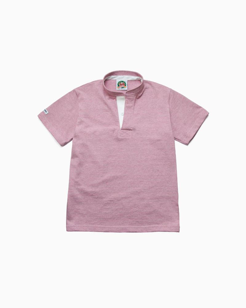 バーバリアン【BARBARIAN】8oz HENLEY SHORT / RSF19(アッシュ/ピンク)メンズ 半袖 ヘンリーカラー スタンドカラー ラガーシャツ ライトウエイト