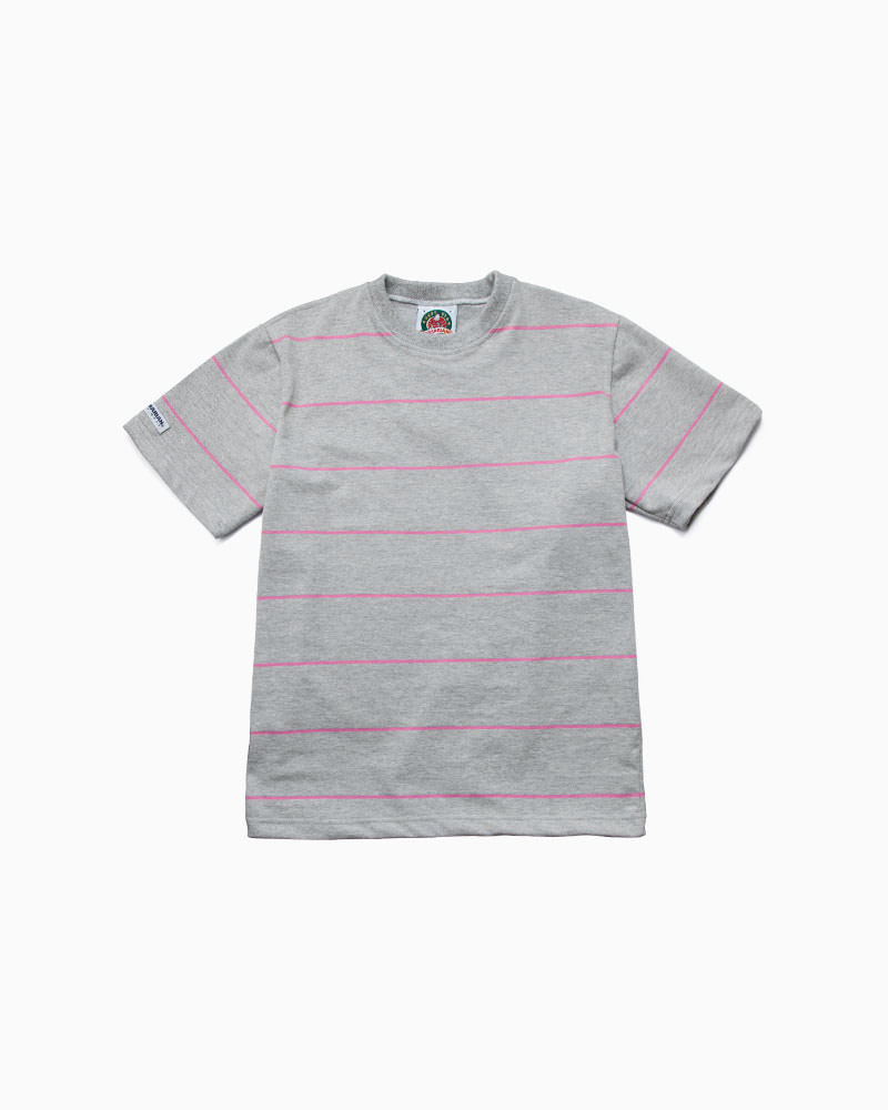 バーバリアン【BARBARIAN】8oz CREW SHORT / RSF23(アッシュ/ピンク)メンズ 半袖 ラガーシャツ ライトウエイト クルーネック ボーダー