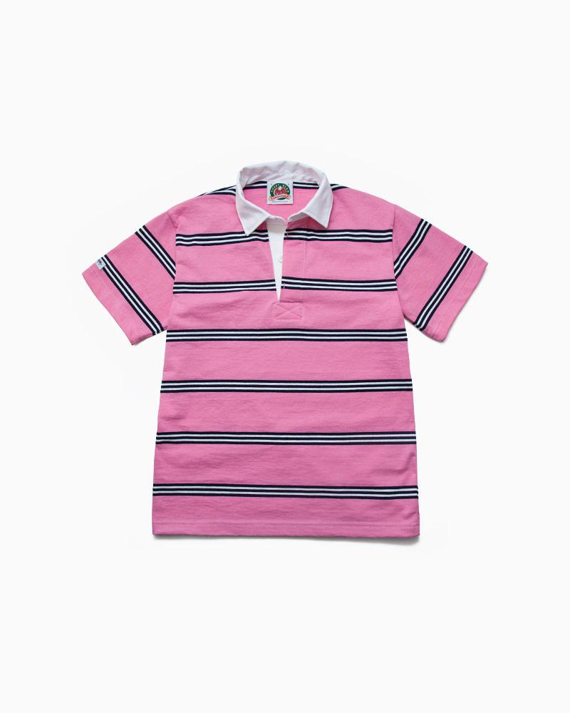 バーバリアン【BARBARIAN】8oz REGULER SHORT / RSF30(ピンク/ネイビー/ホワイト)メンズ 半袖 レギュラーカラー ラガーシャツ ライトウエイト