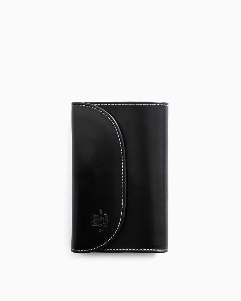 ホワイトハウスコックス【Whitehouse Cox】型番:S7660(ブラック/パープル) 財布 三つ折り財布 ツートン ブライドルレザー ホリデーライン 牛革 男女兼用