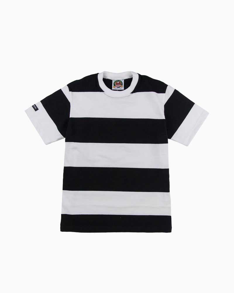 バーバリアン【BARBARIAN】8oz CREW SHORT / QSE23(ブラック/ホワイト)メンズ 半袖 ラガーシャツ ライトウエイト クルーネック ボーダー