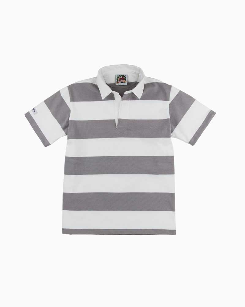 バーバリアン【BARBARIAN】12oz REGULER SHORT / QSE05(グレー/ホワイト)メンズ 半袖 レギュラーカラー ラガーシャツ ボーダー