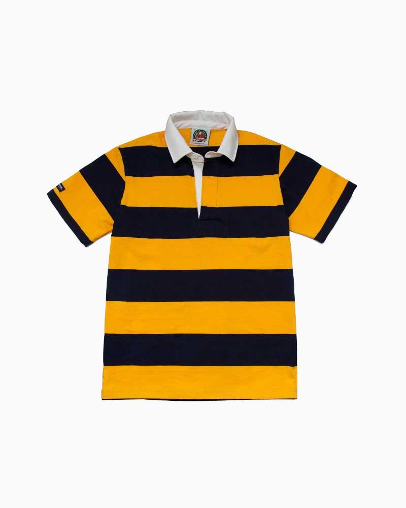 バーバリアン【BARBARIAN】8oz REGULER SHORT / QSF27(ネイビー/ゴールド)メンズ 半袖 ラガーシャツ ライトウエイト レギュラーカラー ボーダー