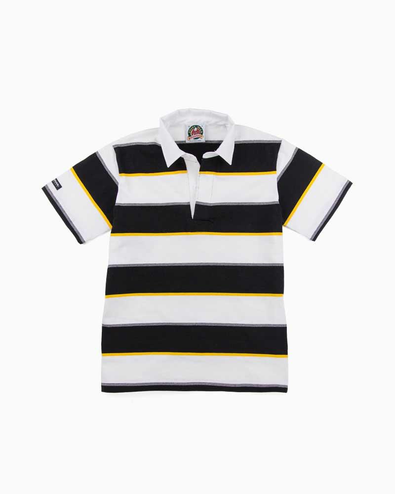 バーバリアン【BARBARIAN】8oz REGULER SHORT / QSF38(ブラック/ゴールド/ホワイト/オックスフォード)メンズ 半袖 ラガーシャツ ライトウエイト レギュラーカラー ボーダー