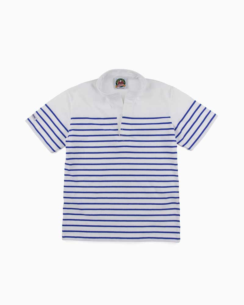バーバリアン【BARBARIAN】8oz HENLEY SHORT / QSF41(ホワイト/ロイヤル)メンズ 半袖 ヘンリーカラー スタンドカラー ラガーシャツ ライトウエイト
