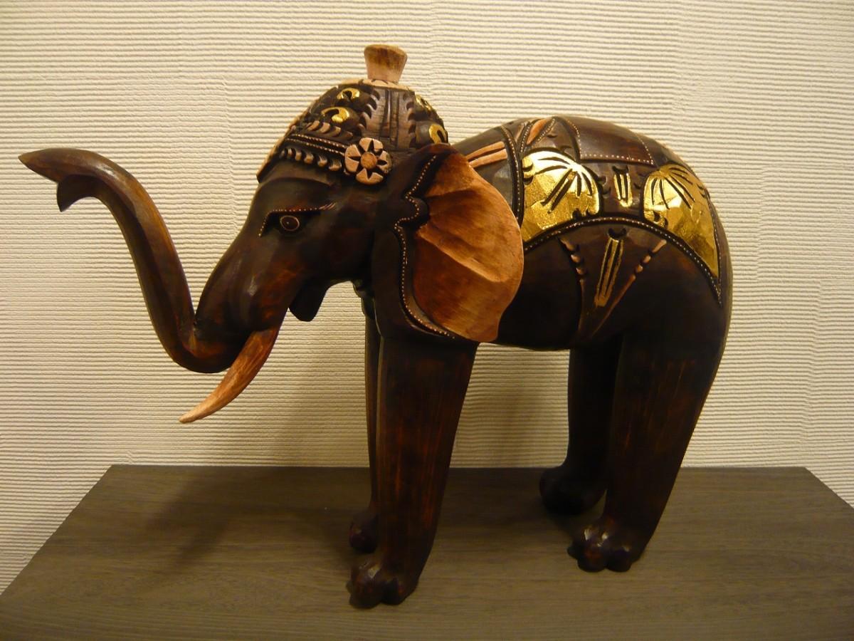 木彫りアニマル 木彫りゾウ オブジェ アジアン雑貨 バリ雑貨 アジアンインテリア