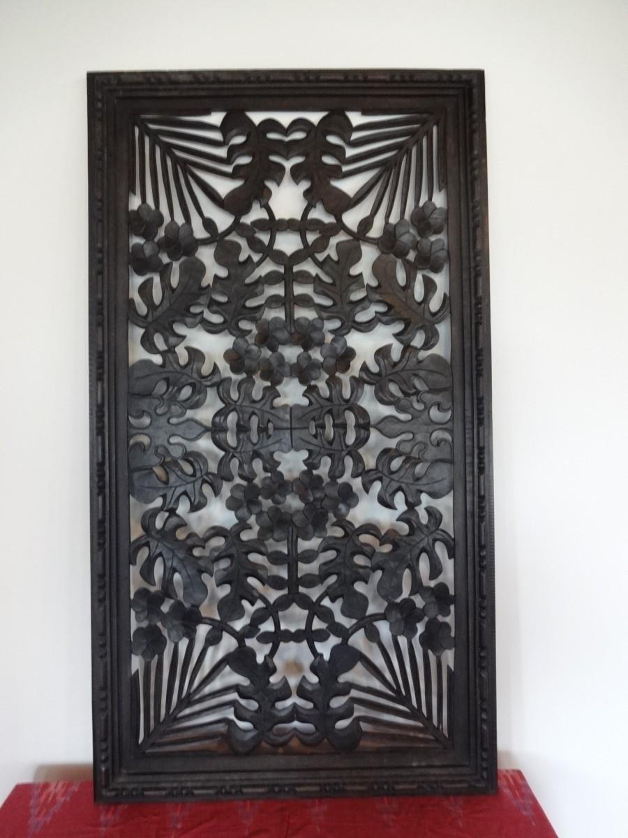 レリーフ パネル 木製 木彫り ウッドレリーフ モンステラ アジアン雑貨 バリ雑貨 アジアンインテリア