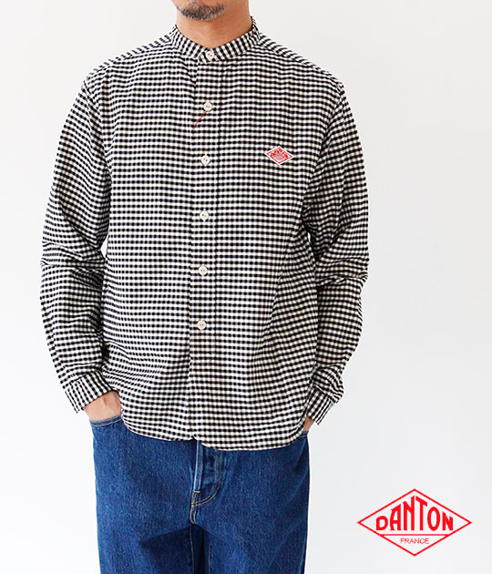 [DANTON]ダントン OXFORD GINGHAM バンドカラー長袖シャツ JD-3607 TRD
