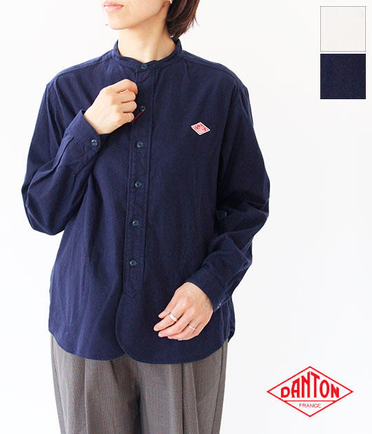 [DANTON]ダントン 先染ビエラ起毛バンドカラー長袖シャツ(レディース) JD-3606 VSS