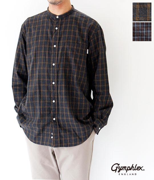 [Gymphlex]ジムフレックス 50/- ビエラチェックバンドカラーシャツ J-1352 VFC