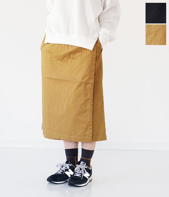 [TRAVAIL MANUEL]トラバイユマニュアル コンパクトチノストレッチイージーラップスカート 591002